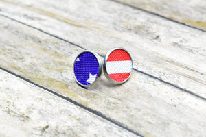 STAR AND STRIPES FAUX LEATHER STUD EARRINGS - Handmade Creations by Liz
