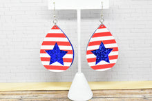 Load image into Gallery viewer, RED AND WHITE STRIPES, BLUE GLITTER STAR FAUX LEATHER EARRINGS - TEARDROP - Handmade Creations by Liz