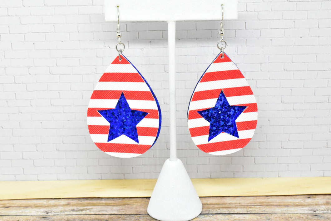 RED AND WHITE STRIPES, BLUE GLITTER STAR FAUX LEATHER EARRINGS - TEARDROP - Handmade Creations by Liz