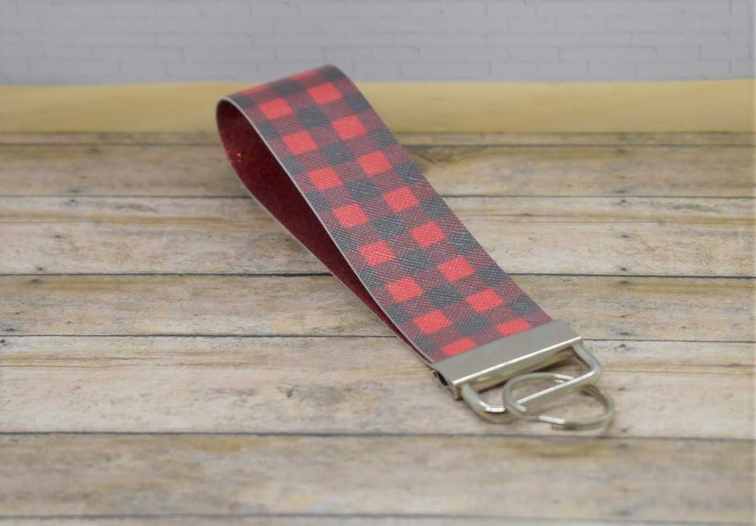 RED BUFFALO CHECK WRISTLET -  KEYCHAIN