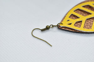 YELLOW LEAF AND COPPER FAUX LEATHER EARRINGS - TEARDROP - Handmade Creations by Liz