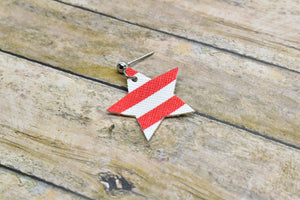 RED AND WHITE STRIPES FAUX LEATHER EARRINGS - STAR - Handmade Creations by Liz