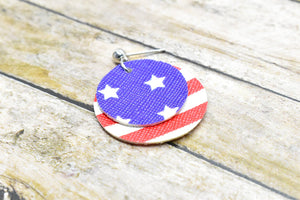 STARS AND STRIPES FAUX LEATHER EARRINGS - CIRCLE - Handmade Creations by Liz