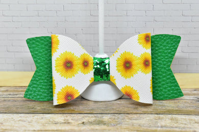 WHITE SUNFLOWER PATTERN AND GREEN - FAUX LEATHER BOW - Handmade Creations by Liz