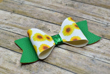 Load image into Gallery viewer, WHITE SUNFLOWER PATTERN AND GREEN - FAUX LEATHER BOW - Handmade Creations by Liz