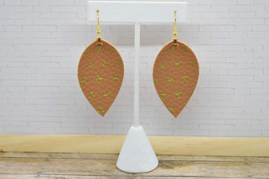 BROWN WITH GOLD POLKA DOTS FAUX LEATHER EARRINGS - MAGNOLIA