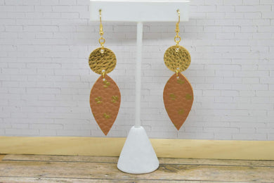 BROWN WITH GOLD POLKA DOTS AND GOLD FAUX LEATHER EARRINGS - DANGLE