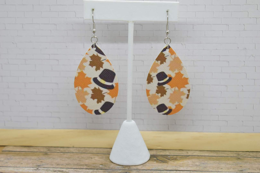 FALL LEAVES AND PILGRIM HATS FAUX LEATHER EARRINGS - MAGNOLIA