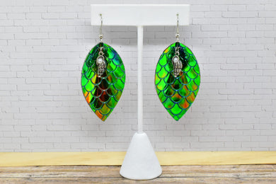 GREEN MERMAID WITH SEASHELL CHARM FAUX LEATHER EARRINGS - MAGNOLIA - Handmade Creations by Liz
