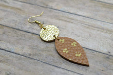 Load image into Gallery viewer, BROWN WITH GOLD POLKA DOTS AND GOLD FAUX LEATHER EARRINGS - DANGLE
