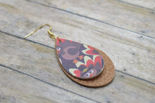 Load image into Gallery viewer, THANKSGIVING PILGRIM TURKEYS AND TAN FAUX LEATHER EARRINGS - TEARDROP