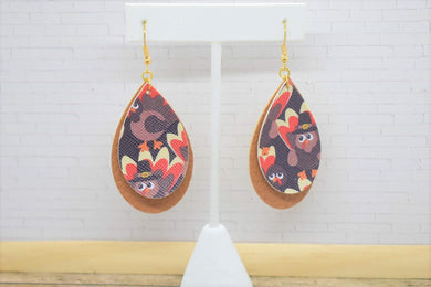 THANKSGIVING PILGRIM TURKEYS AND TAN FAUX LEATHER EARRINGS - TEARDROP