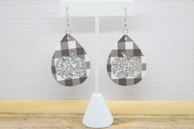 BLACK BUFFALO  CHECK AND SILVER GLITTER PUMPKINS FAUX LEATHER EARRINGS - TEARDROP