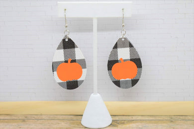 BLACK BUFFALO  CHECK AND ORANGE PUMPKIN VINYL FAUX LEATHER EARRINGS - TEARDROP