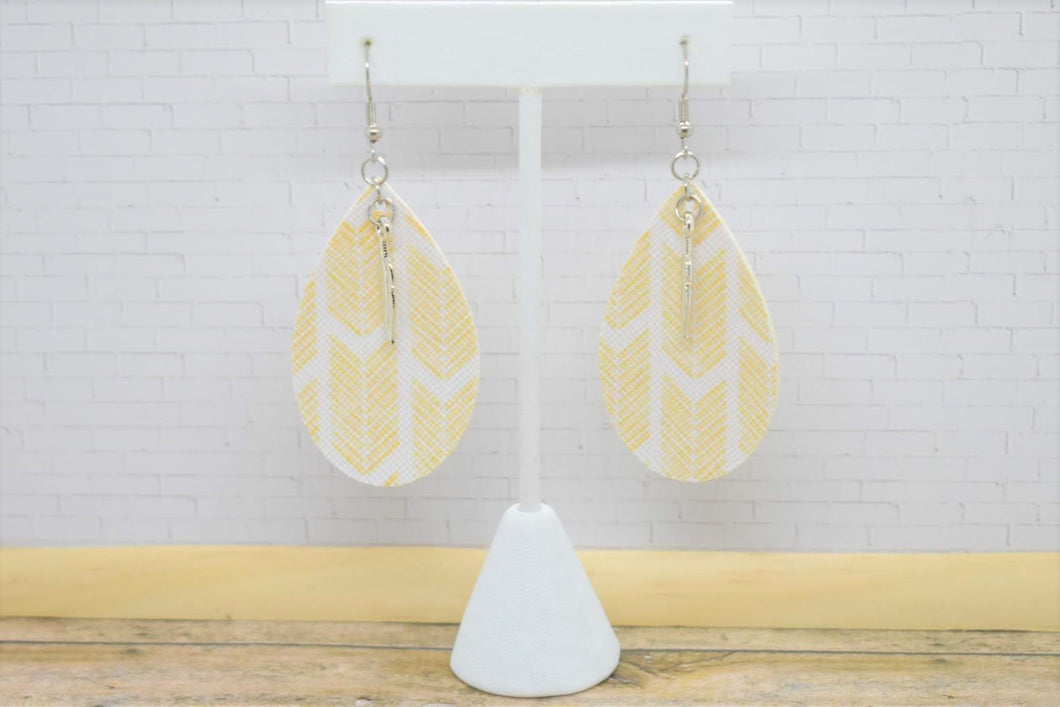 YELLOW ARROWS WITH FEATHER CHARM FAUX LEATHER EARRINGS - TEARDROP