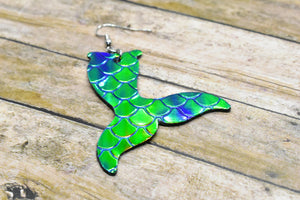 GREEN MERMAID FAUX LEATHER EARRINGS - MERMAID TAIL - Handmade Creations by Liz