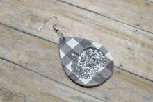 Load image into Gallery viewer, BLACK BUFFALO  CHECK AND SILVER GLITTER PUMPKINS FAUX LEATHER EARRINGS - TEARDROP
