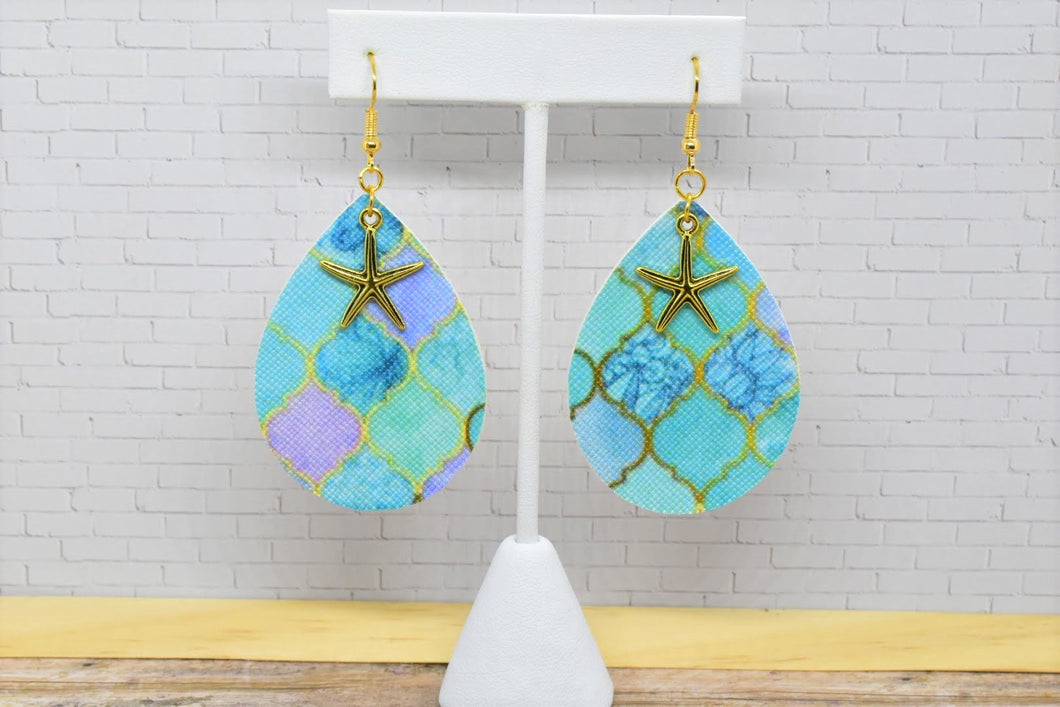 OCEAN MOSAIC WITH STARFISH CHARM FAUX LEATHER EARRINGS - TEARDROP - Handmade Creations by Liz