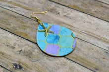 Load image into Gallery viewer, OCEAN MOSAIC WITH STARFISH CHARM FAUX LEATHER EARRINGS - TEARDROP - Handmade Creations by Liz