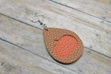 Load image into Gallery viewer, BROWN AND ORANGE PUMPKIN FAUX LEATHER EARRINGS - TEARDROP