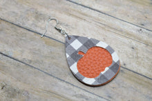 Load image into Gallery viewer, BLACK BUFFALO CHECK AND ORANGE PUMPKIN FAUX LEATHER EARRINGS - TEARDROP