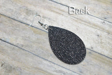 Load image into Gallery viewer, BLACK BUFFALO CHECK FAUX LEATHER EARRINGS - TEARDROP