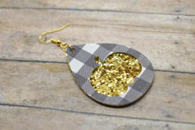 Load image into Gallery viewer, BLACK BUFFALO CHECK AND GOLD GLITTER PUMPKIN FAUX LEATHER EARRINGS - TEARDROP