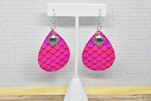 Load image into Gallery viewer, PINK MERMAID WITH SEASHELL CHARM FAUX LEATHER EARRINGS - TEARDROP - Handmade Creations by Liz