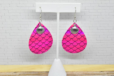 PINK MERMAID WITH SEASHELL CHARM FAUX LEATHER EARRINGS - TEARDROP - Handmade Creations by Liz