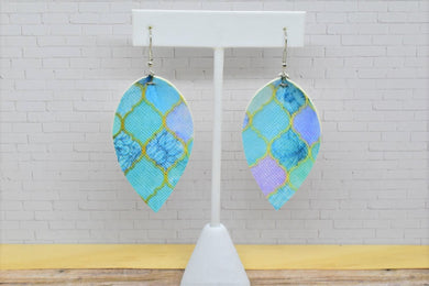 OCEAN MOSAIC FAUX LEATHER EARRINGS - MAGNOLIA - Handmade Creations by Liz