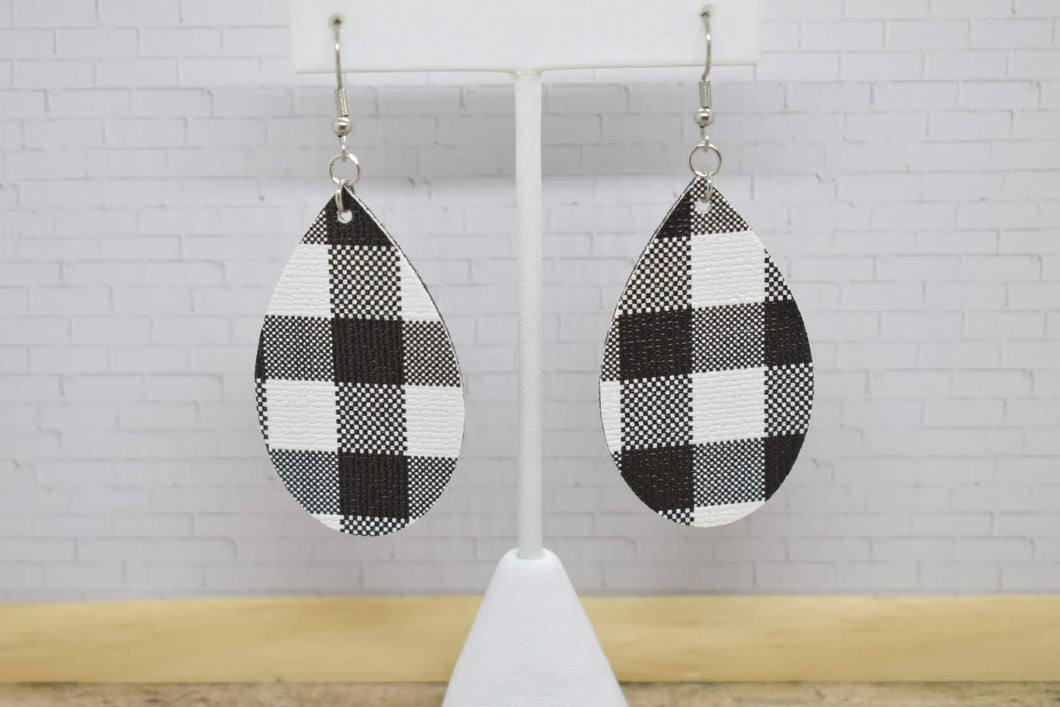 BLACK BUFFALO CHECK FAUX LEATHER EARRINGS - TEARDROP