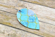 Load image into Gallery viewer, OCEAN MOSAIC FAUX LEATHER EARRINGS - MAGNOLIA - Handmade Creations by Liz