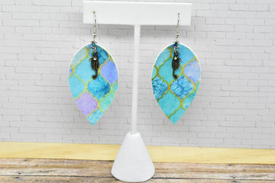 OCEAN MOSAIC WITH SEAHORSE CHARM FAUX LEATHER EARRINGS - MAGNOLIA - Handmade Creations by Liz