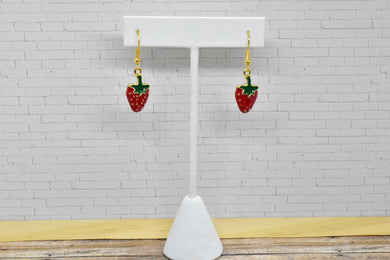 STRAWBERRY METAL CHARM EARRINGS - Handmade Creations by Liz
