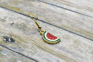 WATERMELON METAL CHARM EARRINGS - Handmade Creations by Liz