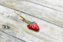 Load image into Gallery viewer, STRAWBERRY METAL CHARM EARRINGS - Handmade Creations by Liz