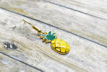 Load image into Gallery viewer, PINEAPPLE METAL CHARM EARRINGS - Handmade Creations by Liz