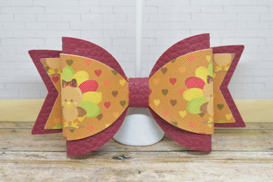 GOBBLE GOBBLE FAUX LEATHER BOW