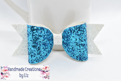 ER BOW - LIGHT BLUE AND WHITE FAUX LEATHER BOW - Handmade Creations by Liz