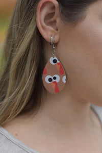 TURKEY FACES FAUX LEATHER EARRINGS - MAGNOLIA