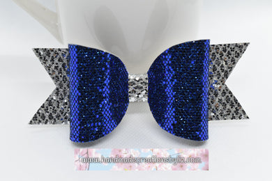 ER BOW - COBALT BLUE AND WHITE FAUX LEATHER BOW - Handmade Creations by Liz