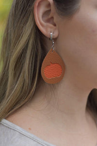 BROWN AND ORANGE PUMPKIN FAUX LEATHER EARRINGS - TEARDROP