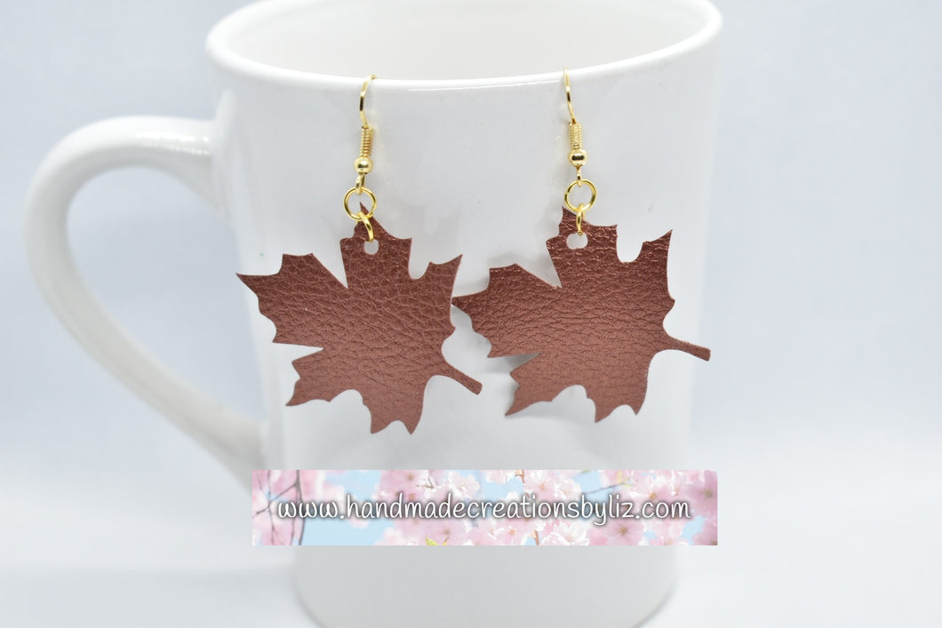 COPPER MAPLE LEAF FAUX LEATHER EARRINGS - Handmade Creations by Liz