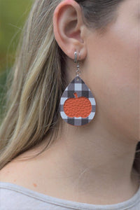 BLACK BUFFALO CHECK AND ORANGE PUMPKIN FAUX LEATHER EARRINGS - TEARDROP