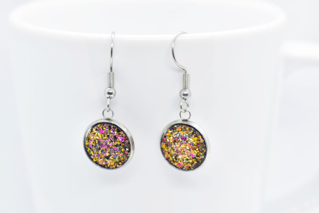 FAUX DRUZY PENDANT EARRINGS - YELLOW AND PINK - Handmade Creations by Liz