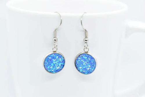 FAUX DRUZY PENDANT EARRINGS - AZURE - Handmade Creations by Liz