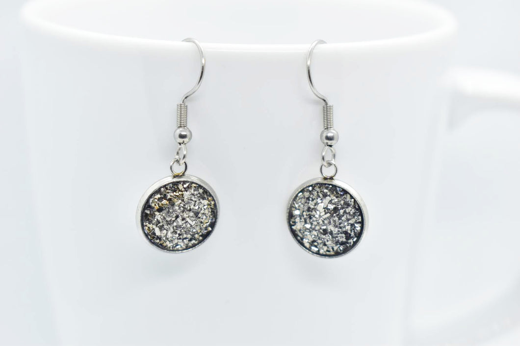 FAUX DRUZY PENDANT EARRINGS - SILVER - Handmade Creations by Liz