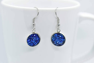 FAUX DRUZY PENDANT EARRINGS - BLUE - Handmade Creations by Liz