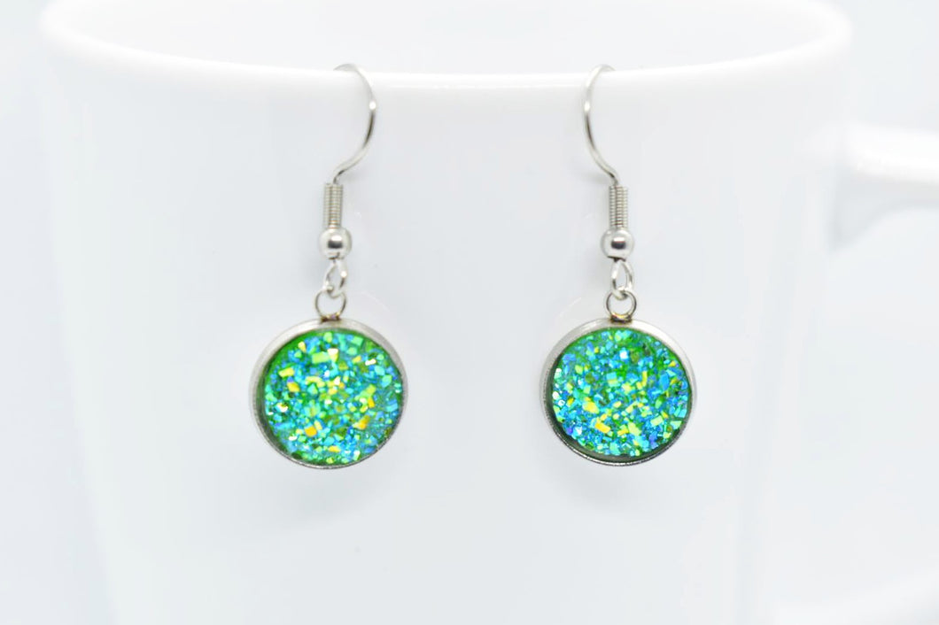 FAUX DRUZY PENDANT EARRINGS - GREEN AND TURQUOISE - Handmade Creations by Liz