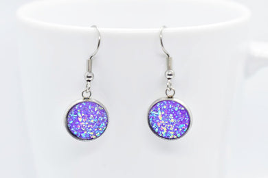 FAUX DRUZY PENDANT EARRINGS - PURPLE AND BLUE - Handmade Creations by Liz
